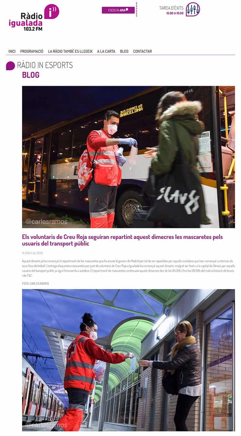 200414 - RadioIgualada - Els voluntaris de Creu Roja seguiran repartint aquest dimecres les mascaretes pels usuaris del transport públic@0,5x