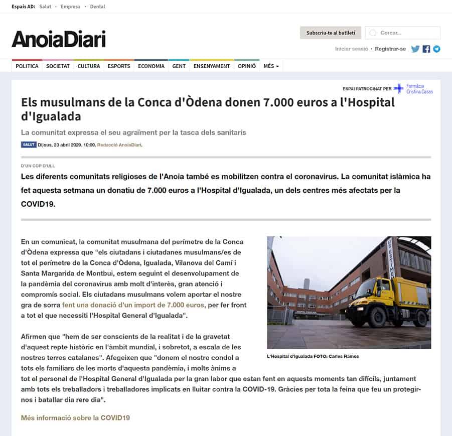 200423 - Anoiadiari - Musulmans-conca-odena-donen-7-000-euros-hospital-igualada@0,5x