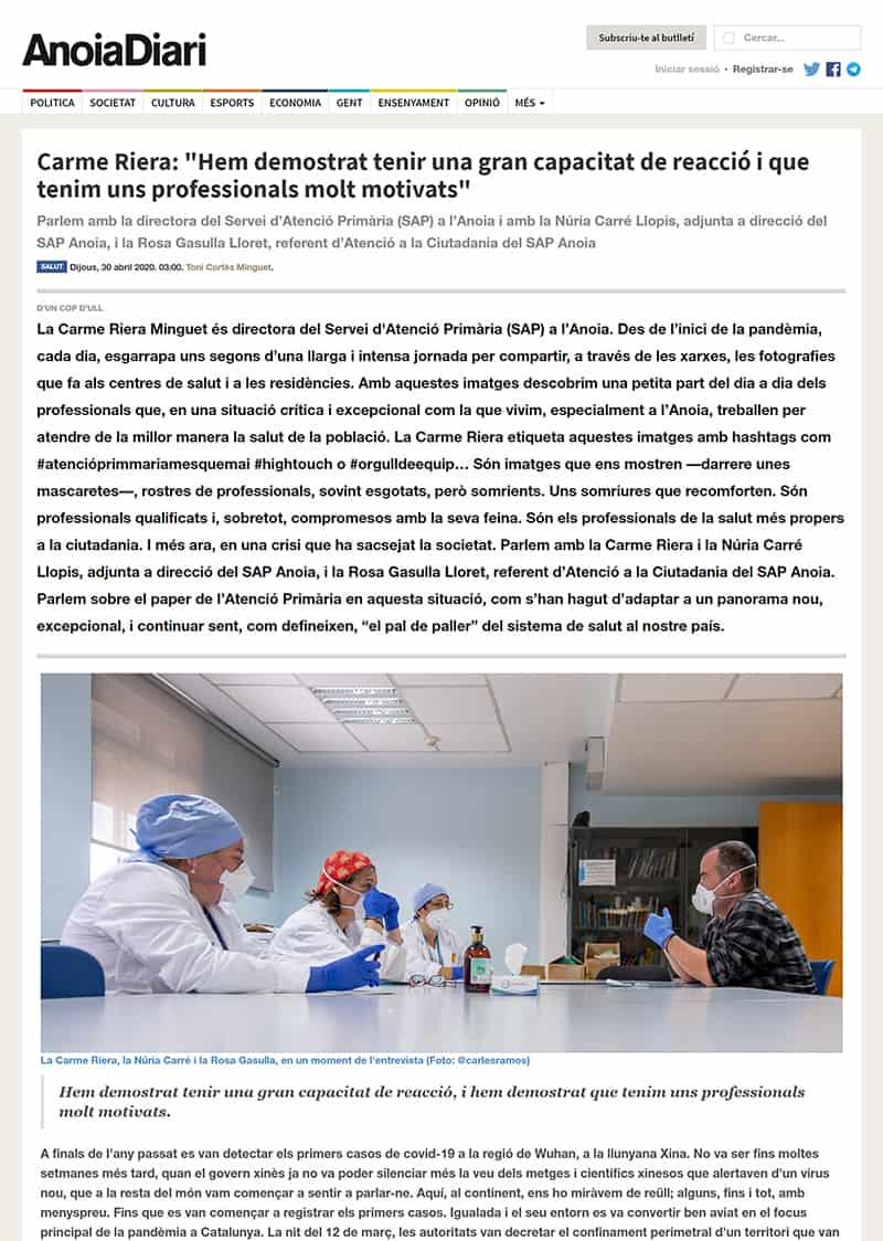 200430 - Anoiadiari - Entrevista. Carme Riera - Hem demostrat tenir una gran capacitat de reacció i que tenim uns professionals molt motivats@0,5x