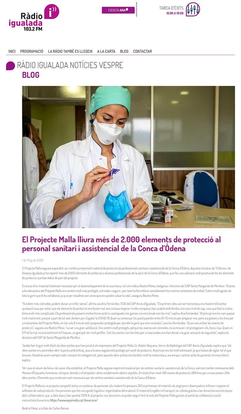 200501 - RadioIgualada - El Projecte Malla lliura més de 2.000 elements de protecció al personal sanitari i assistencial de la Conca d'Òdena@0,5x