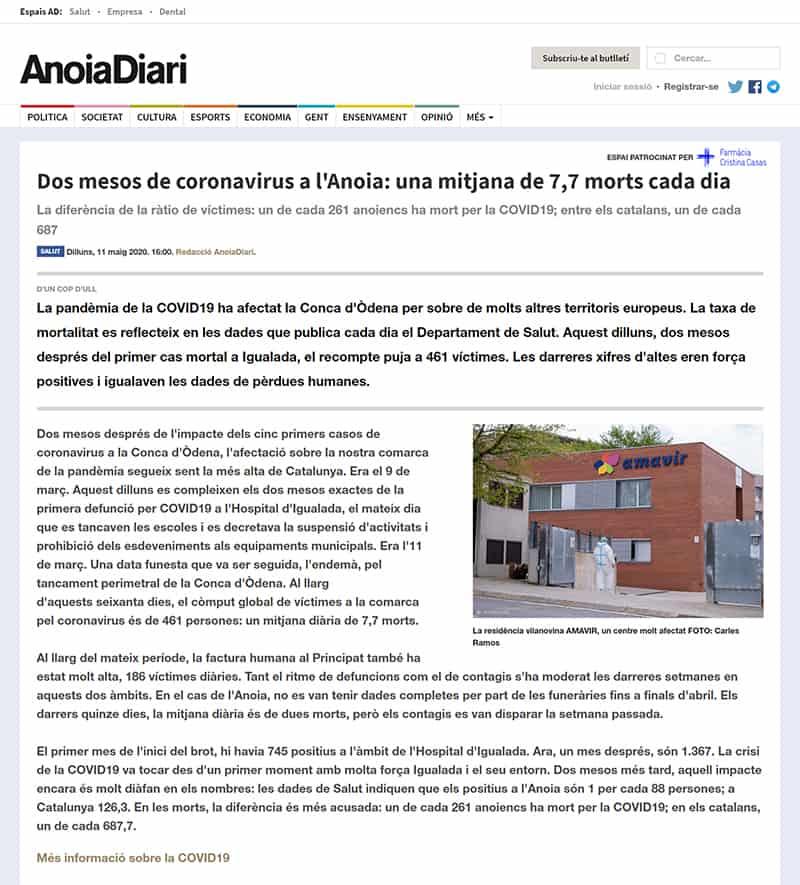 200511 - Anoiadiari - Dos mesos de coronavirus a l'Anoia. Una mitjana de 7,7 morts cada dia@0,5x