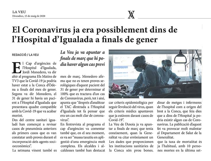 200515 - LaVeu - El Coronavirus ja era possiblement dis de l'Hospital d'Igualada a finals de gener