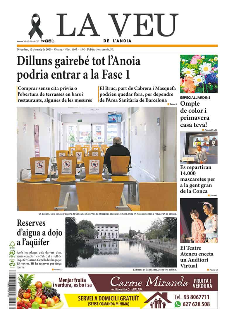 200515 - LaVeu - Portada - Dilluns gairebé tot l'Anoia prodria estar a la Fase I@0,5x