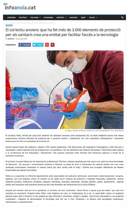 200612 - Infoanoia - El col·lectiu anoienc que ha fet més de 3.000 elements de protecció per als sanitaris crea una entitat per facilitar l'accés a la tecnologia@0,5x