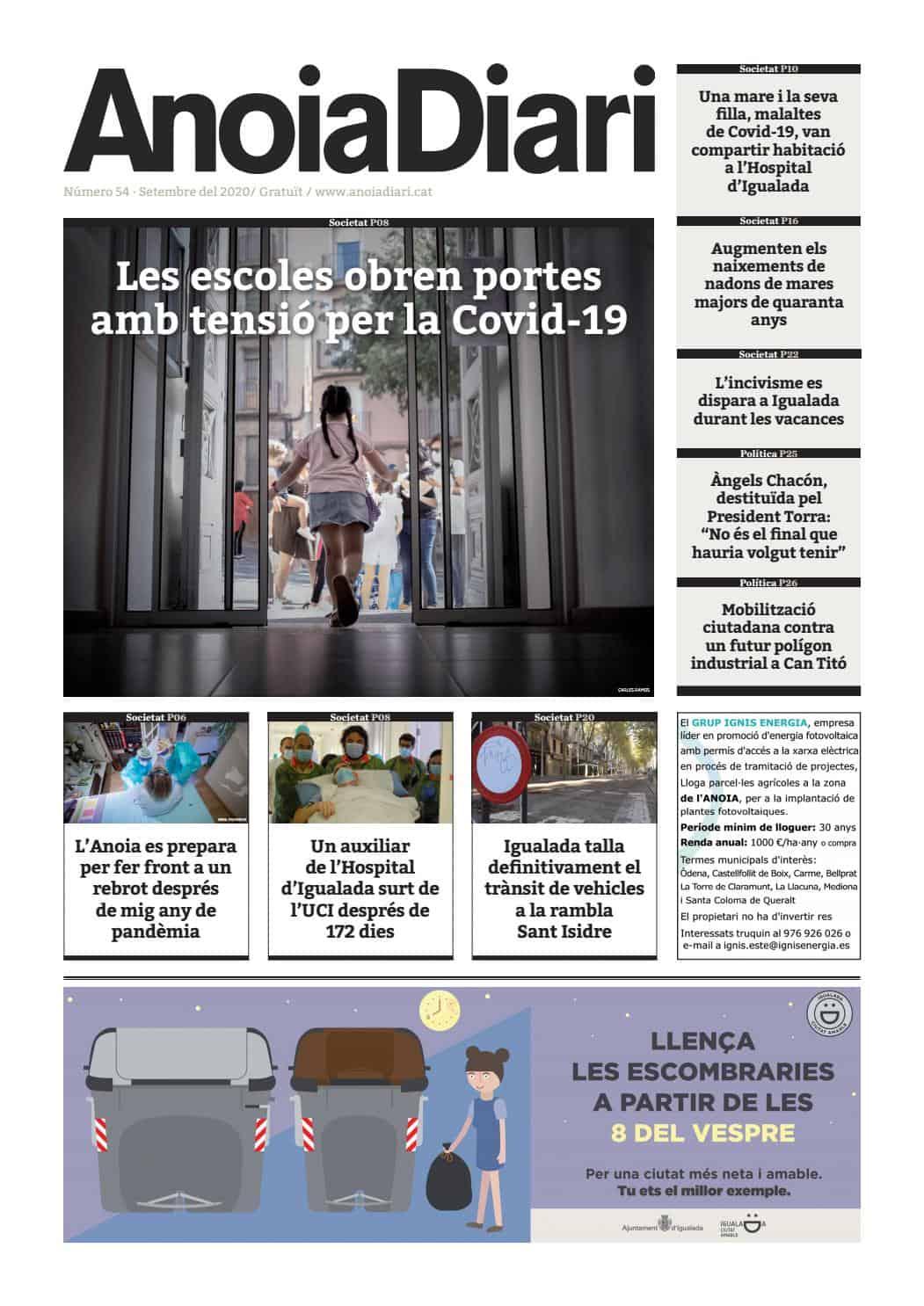 200912 - Anoiadiari - 0de3 - Les escoles obren portes amb tensió per la Covid-19