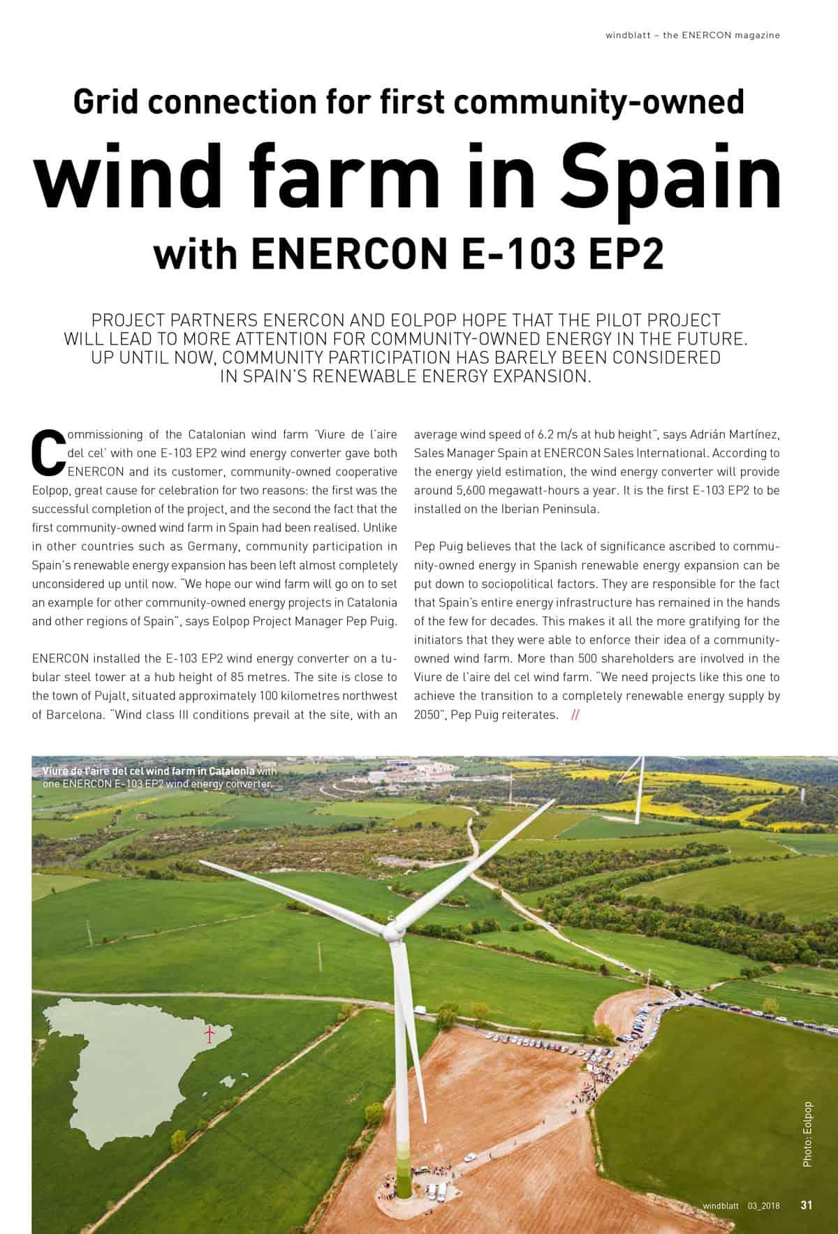 180301 - Windblatt - Enercon magazine - Viure-de-l'aire-del-cel-wind-farm-in-Catalonia-withone-ENERCON-E-103-EP2-wind-energy-converter