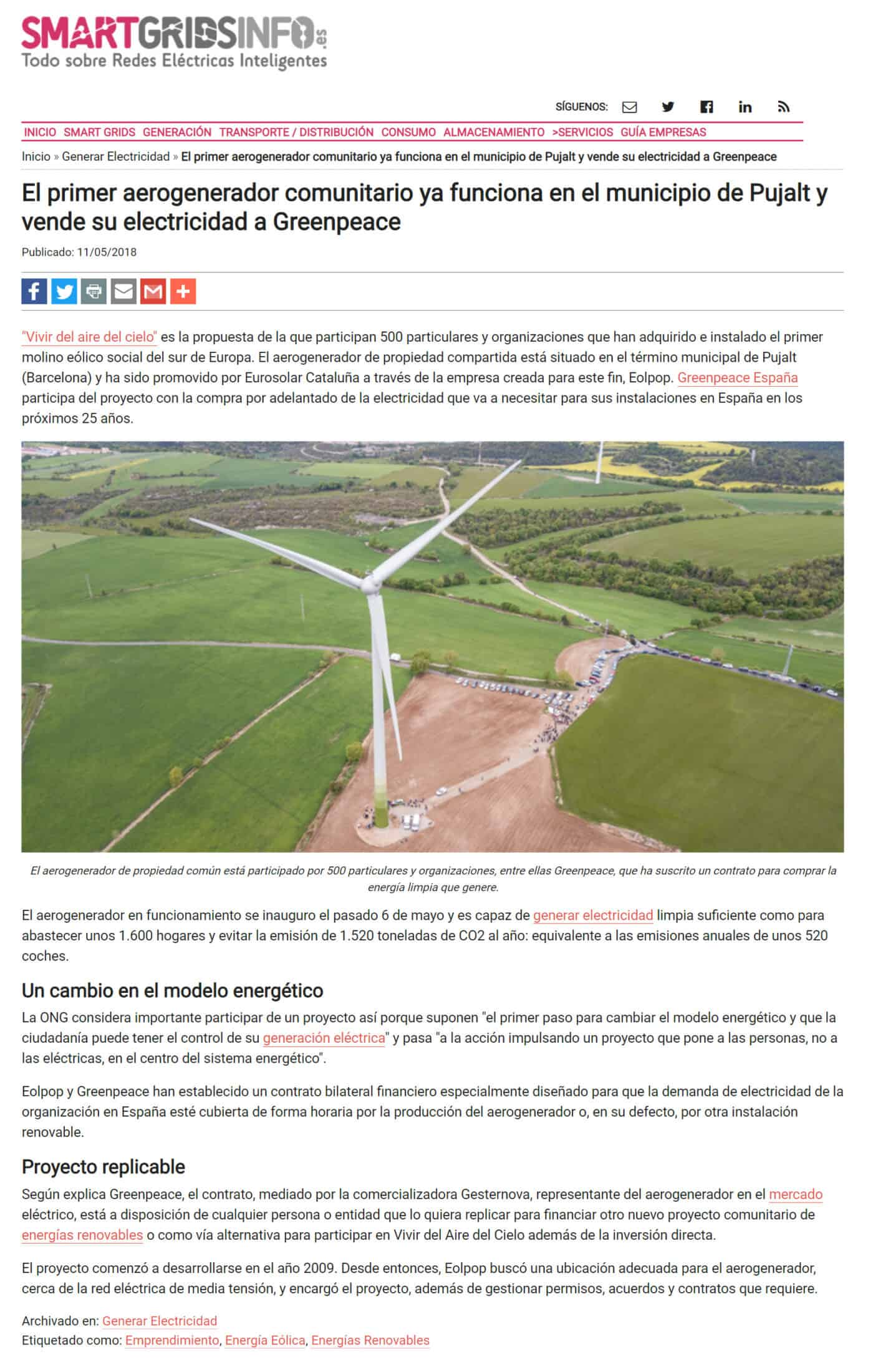 180906 - SmartGridsInfo - El-primer-aerogenerador-comunitario-ya-funciona-en-el-municipio-de-Pujalt-y-vende-su-electricidad-a-Greenpeace