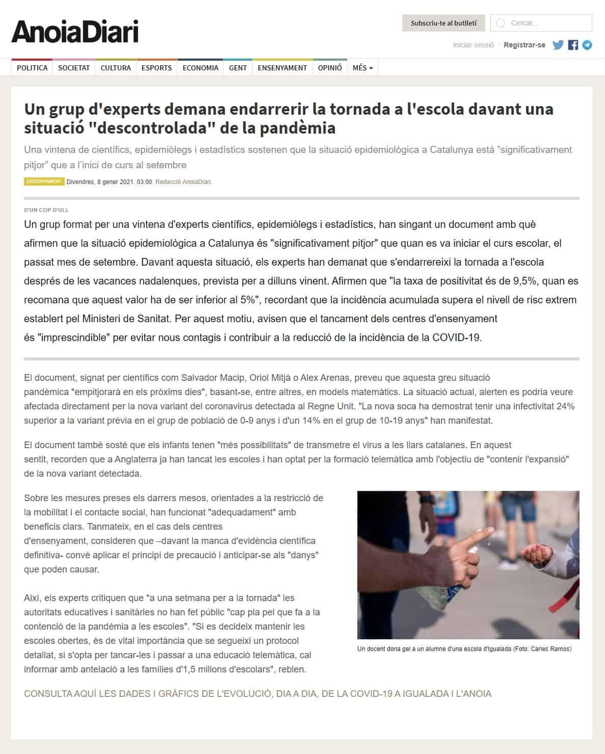 210108 - Anoiadiari - Un grup d'experts demana endarrerir la tornada a l'escola davant una situació descontrolada de la pandèmia