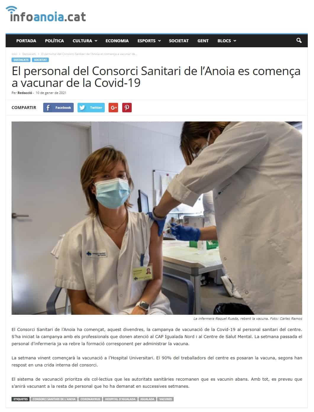 210110 - Infoanoia - El personal del Consorci Sanitari de l'Anoia es comença a vacunar de la Covid-19