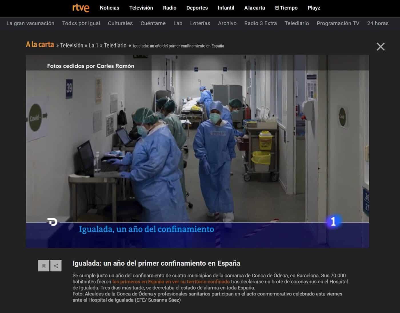 210313 - RTVE - Igualada, un año del confinamiento