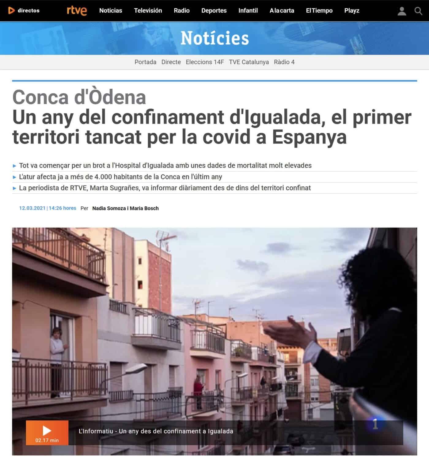 210313 - RTVE - Un any del confinament d'Igualada, el primer territori tancat per la covid a Espanya