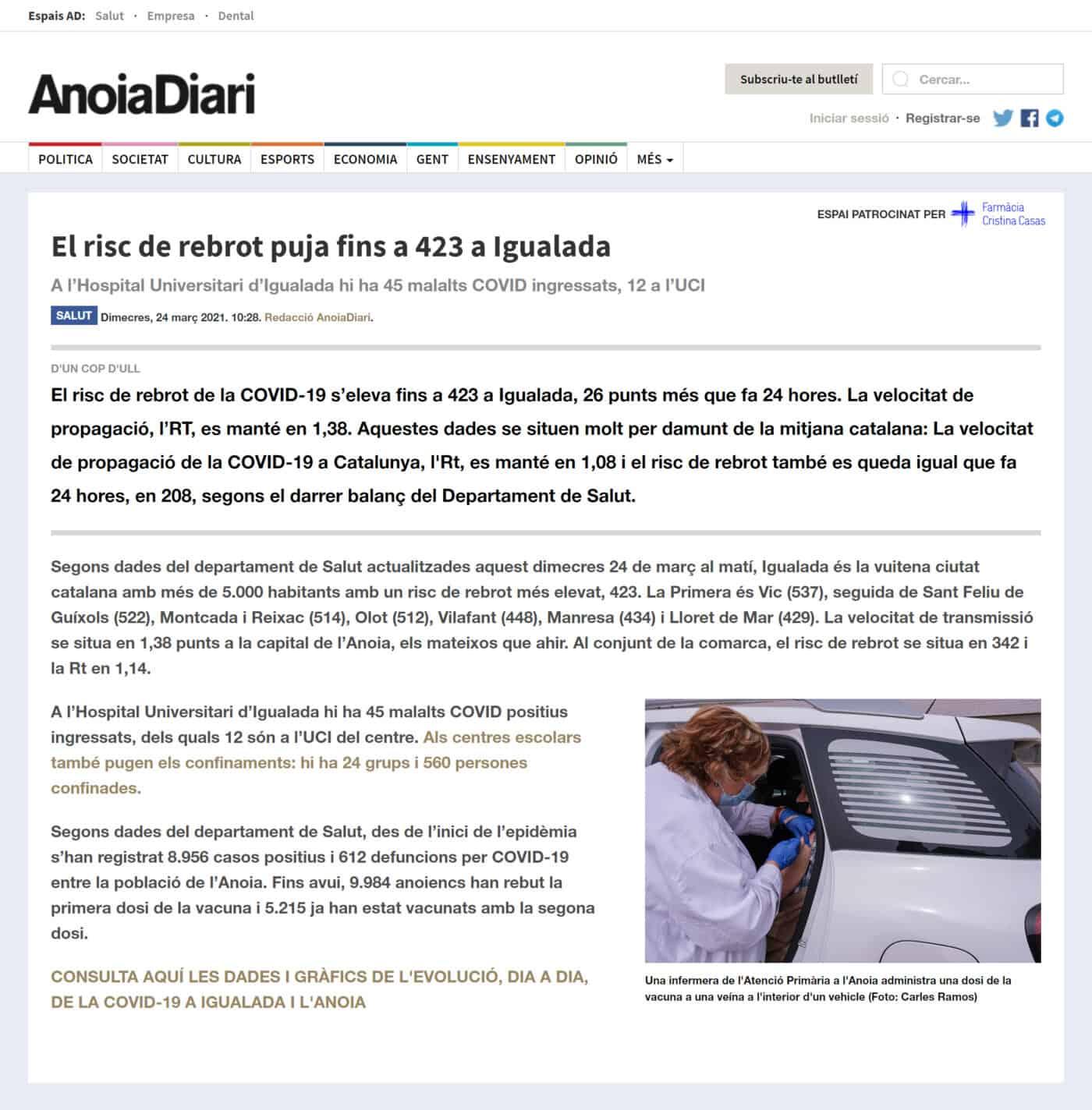 210324 - Anoiadiari - El risc de rebrot puja fins a 423 a Igualada