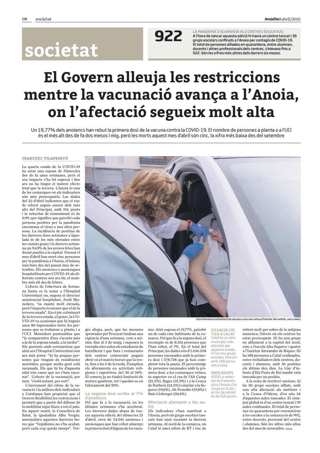 210401 - Anoiadiari - 2de2 - El Govern alleuja les restriccions mentre la vacunació avança a l'Anoia, on l'afectació segueix molt alta